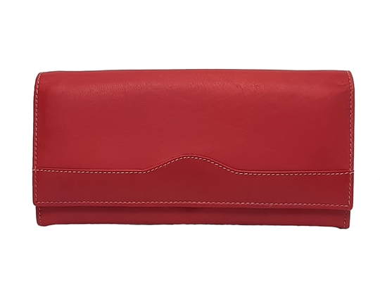Red Real leather wave design purse
