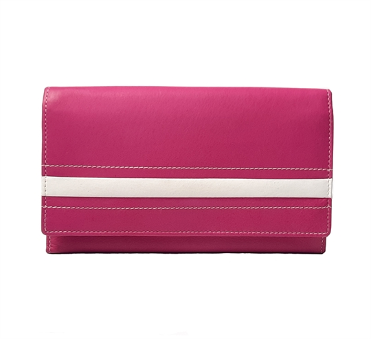 Pink Real leather stripe applique purse