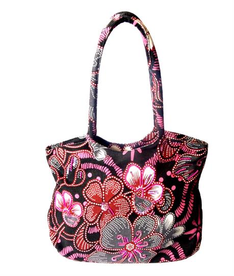 Black Flower power shopper bag