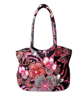 Flower power canvas shopper bag