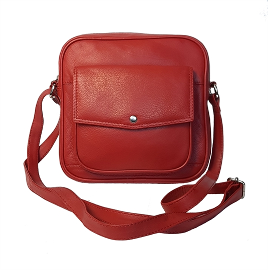 Red small leather front flap pocket across body bag