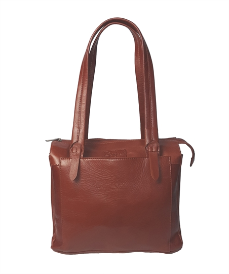Brown leather tote shoulder bag