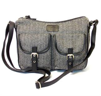 Herringbone two front flap pockets across body bag