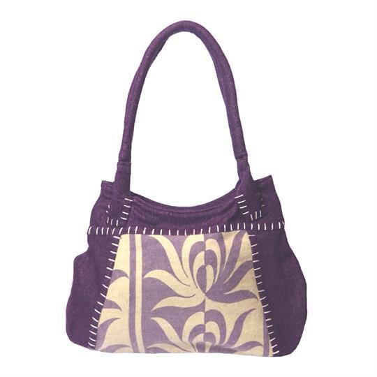 Purple offset print felt tote shoulder bag