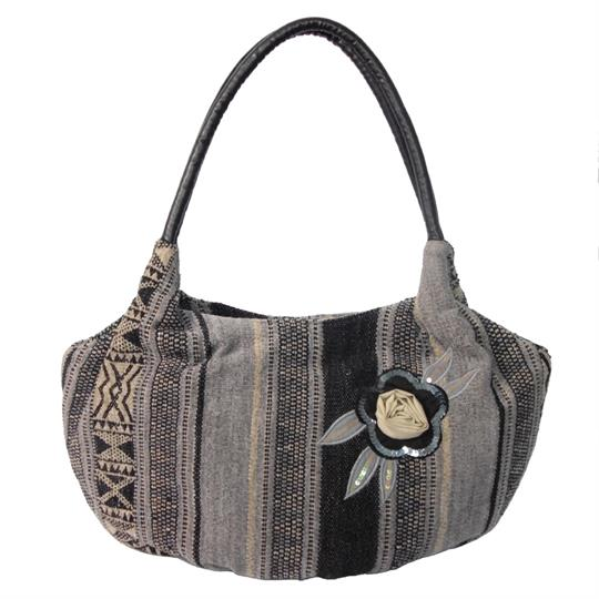 Black Flower and stripes woven jacquard shoulder bag