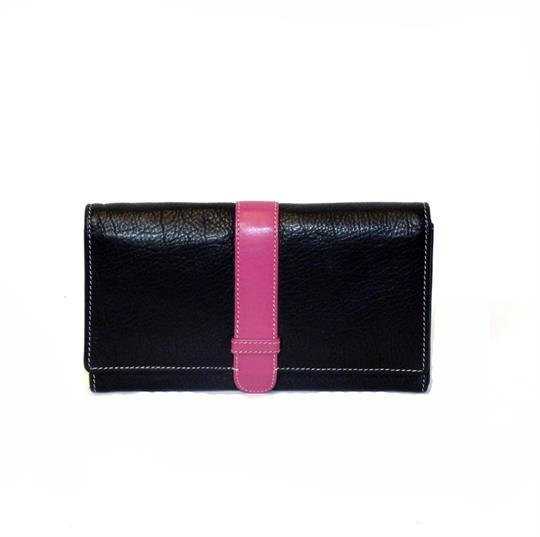 Black Real leather belt loop flap purse