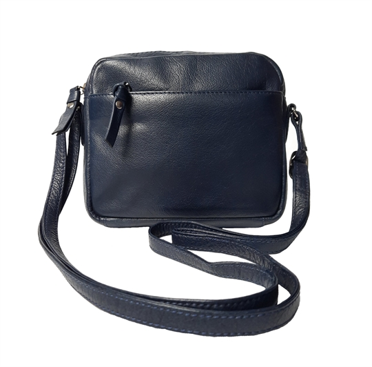 Navy Blue small leather front zip pocket across body bag