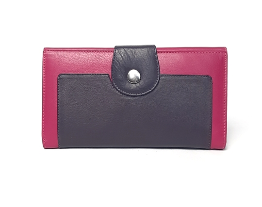 Pink Real leather button loop purse
