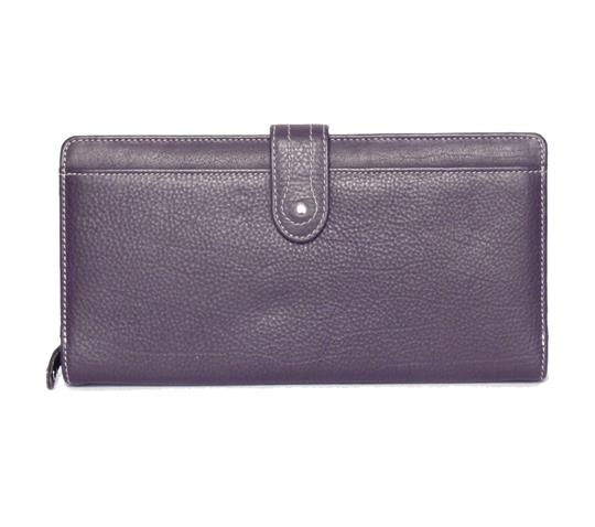 Purple Real Leather Large loop closure purse