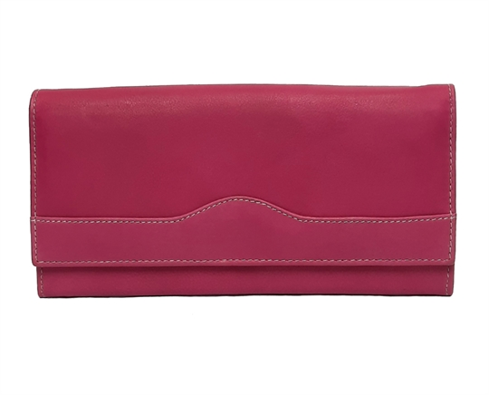 Pink Real leather wave design purse