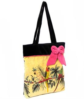 Parrot fashion velvet embroidered bag