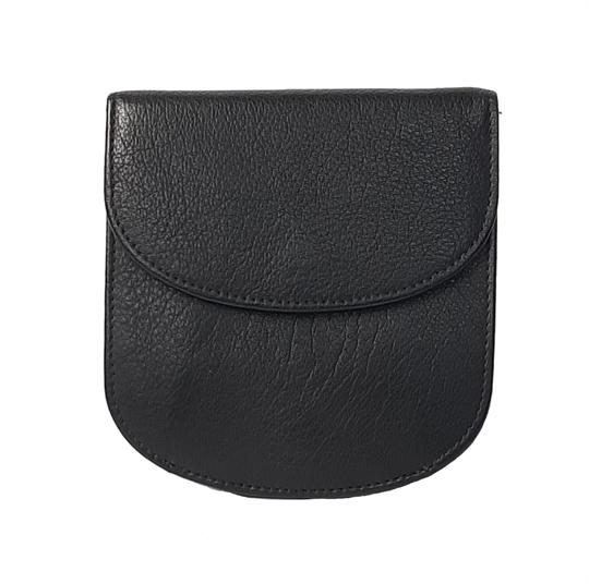 Black leather half round purse