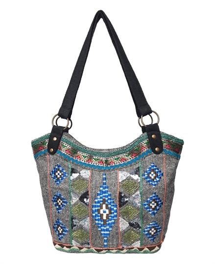 Grey diamonds embroidered tweed bucket shoulder bag