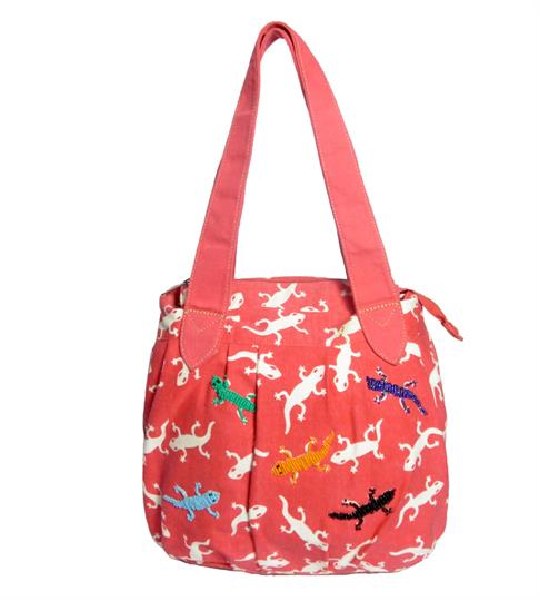 Red Gecko print canvas bag