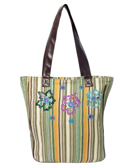 Olive Striped Canvas shopper bag
