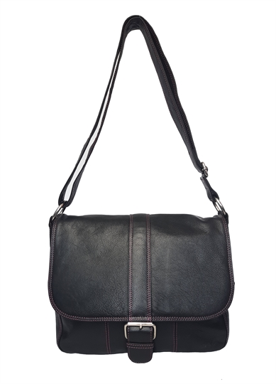 Black leather flap over across body satchel