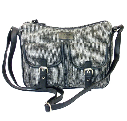 Grey herringbone two front flap pockets across body bag