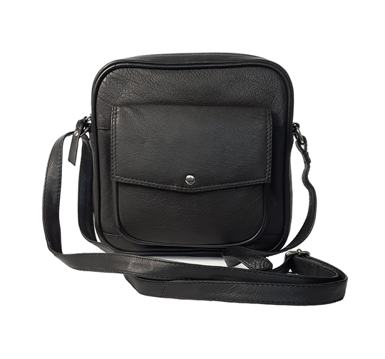 Black small leather front flap pocket across body bag