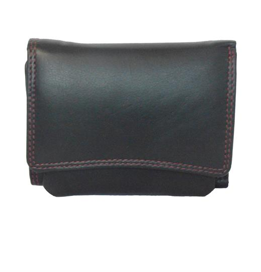 Black Real leather curved front flap purse