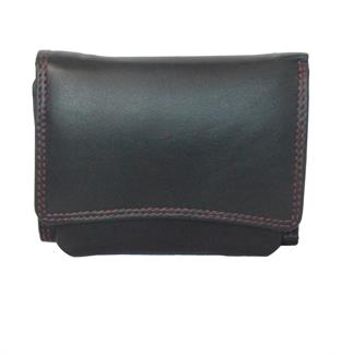 Real leather curved front flap purse