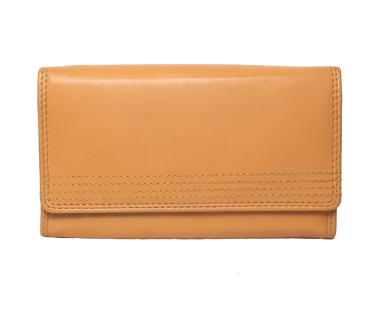 Mustard Real leather flap over purse