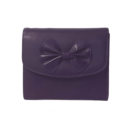 Purple Real leather bow purse
