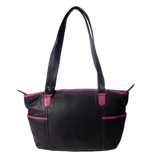 Black leather shoulder bag with side pockets