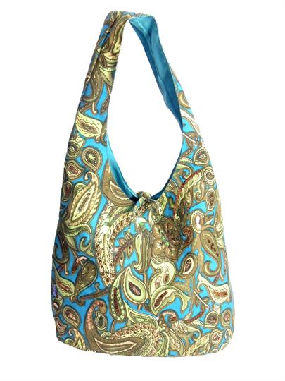 Turquoise Paisley gypsy slouch bag