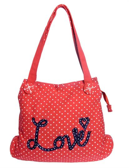 Red Love Polka dot Canvas bag