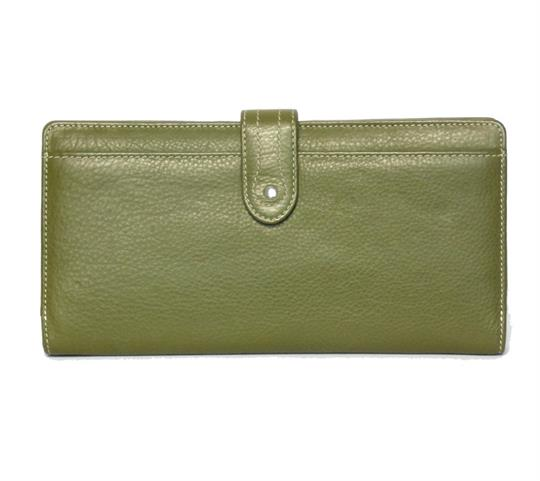 Green Real Leather Large loop closure purse