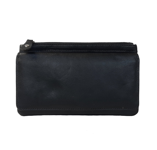 Black Real leather two top zip pocket  purse