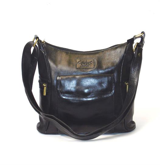 Black Veg tanned real leather front flap pocket bag