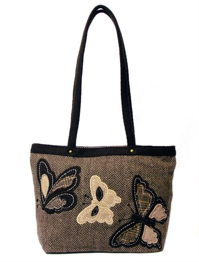 Brown Herringbone butterflies mini shopper