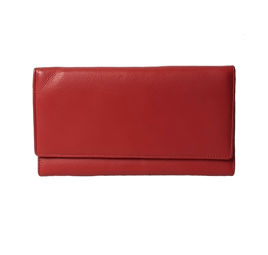 Red leather flap over purse