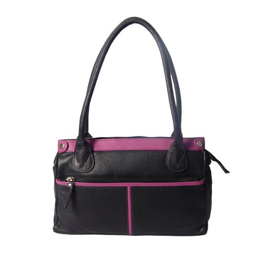 Black leather handbag with front zip pocket