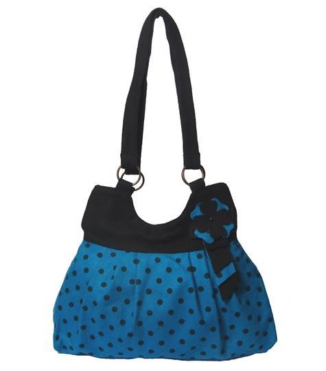 Turquoise flower polka dot shoulder bag