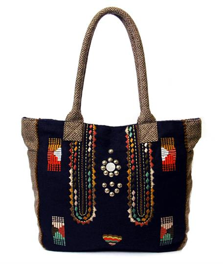 Brown Aztec felt shopper bag