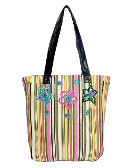 Pink Striped Canvas shopper bag