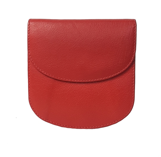 Red leather half round purse