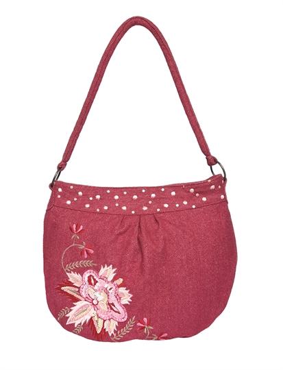Pink tweed flower embellished hobo bag