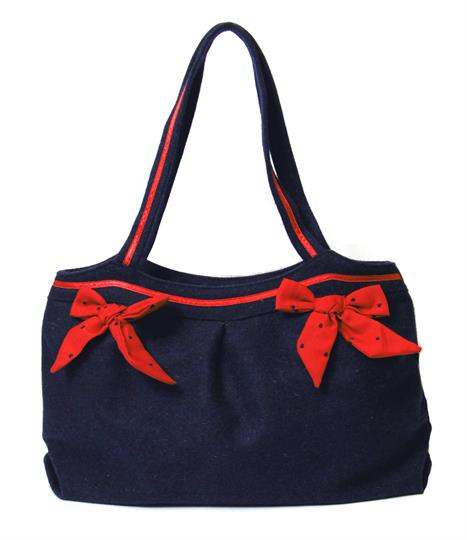 Navy Blue Bows felt bag