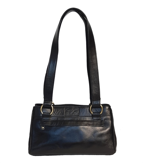 Black small leather front zip pocket bag