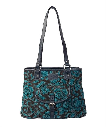 Teal Rose tapestry front pocket tote shoulder bag