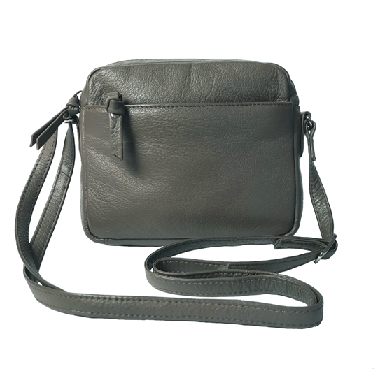 Taupe small leather front zip pocket across body bag