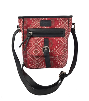 Jewel tapestry front pocket across body bag