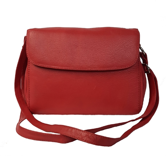 Red leather across body organiser bag