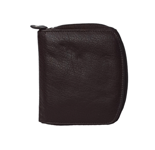Brown leather curved edge purse