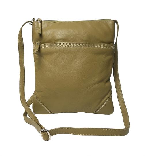 Green leather stitch across body bag