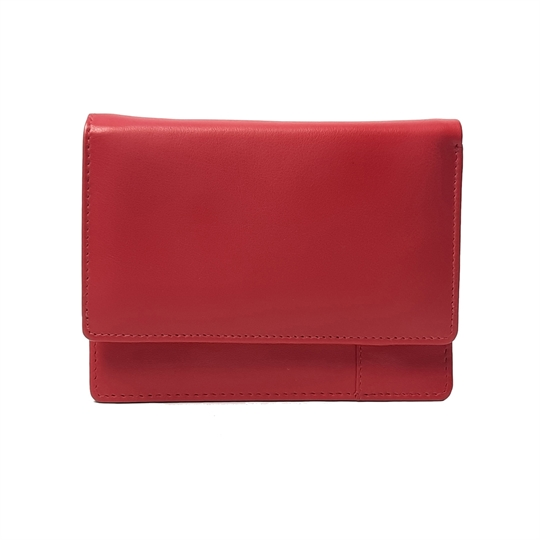 Red Real leather plain flap over purse
