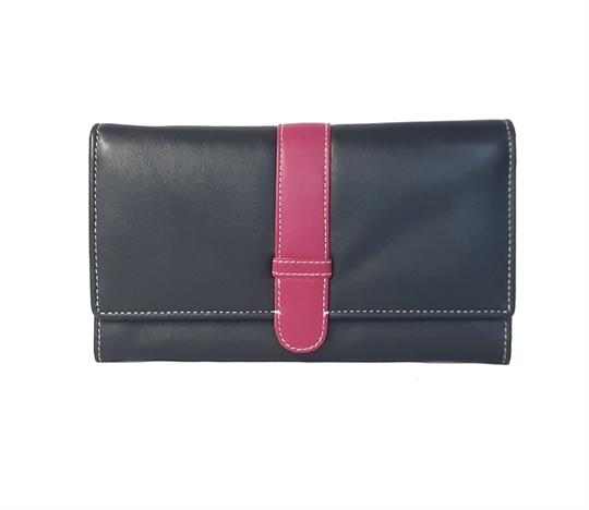 Black Real leather belt loop flap purse